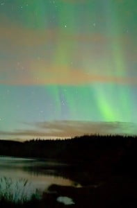 Aurora over Yukon River, near Whitehorse, Yukon