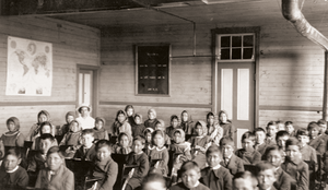 photo of class in an Indian Residential School