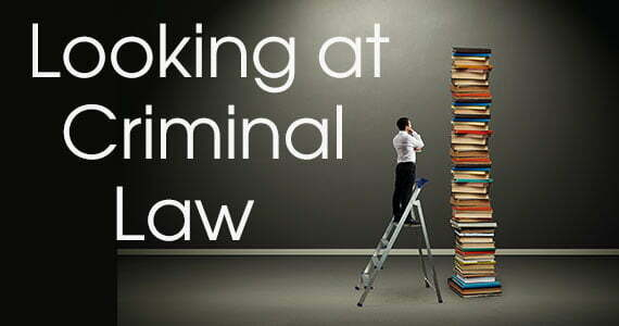 Cover Banner: Looking at Criminal Law: photo of man on ladder examining a huge stack of books