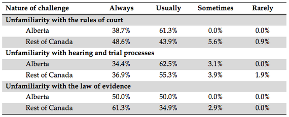 chart of challenges faced by unrepresented litigants