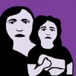 sketch: sad mom and child
