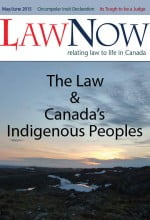 Cover for LawNow Volume 39 Number 5: The Law and Canada's Indigenous Peoples