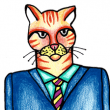 cartoon of a cat in a suit looking angry